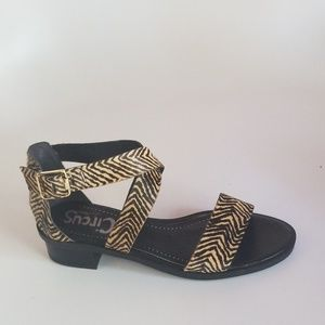 Brown Zebra Print Cow Fur Sandal NWOT